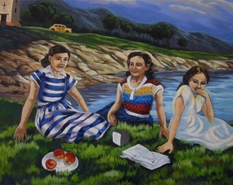 An original painting of a  picnic after church among friends in the 50's