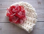 Baby Valentines Hat, Baby Girl Valentine Hat, Newborn, Crochet Baby Hat, Baby Girl Hat, Newborn Girl Hat, Baby Flower Hat, Infant Girl Hat