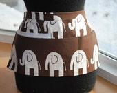 Vendor Apron Server Apron Travel Apron Chocolate Brown White Elephant Cotton Twill