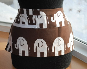 Vendor Apron Server Apron Cash Apron Travel Apron Chocolate Brown White Elephant Cotton Twill