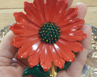 Vintage large poinsettia Christmas pin brooch