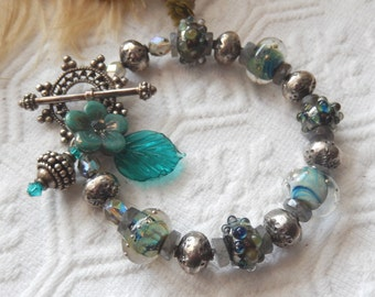 One of a Kind Lampwork Glass, Sterling Silver, Labradorite and Swarovski Crystal Bracelet