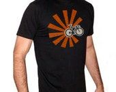 Cycling Shirt - Bicycle With Rays - Unisex - XS only - American Apparel - Black