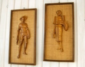 Mid Century Wood Carved Man and Woman Field Workers Tiki Wall Hangings