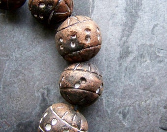 Rustic Beads-Vintage Beads-Clay Beads-Philippines-Earthy Beads-Organic Beads-Tribal Beads-Boho Beads-Carved Beads-Copper-Black-6 Beads