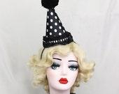 Clown Hat, Birthday Party Hat, Halloween Costume, Circus Costume, Kids Costume, Cirque Costume, Classic Clown, Black and White Polka Dot