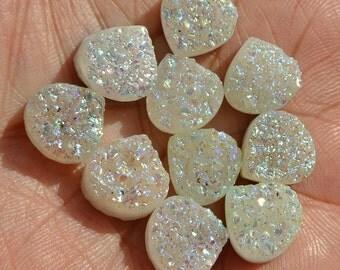 10Pcs 12x12mm Gorgeous Sparkling White Titanium Coated Agate Druzy Heart Cabochon, Peach  Druzy Heart Briolette,Druzy Cabs