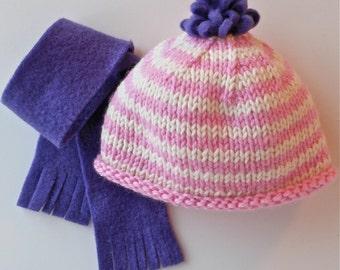 American Girl doll hand-knit striped wool hat with fleece pom pom & coordinating fleece scarf.
