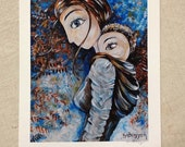 Deep As A River, archival signed motherhood print from an acrylic painting by Katie m. Berggren