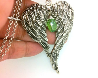 Large Angel Wings Necklace, Angel Wing Necklace