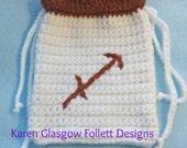 Sagittarius Tarot bag Hand Crochet in White and Autumn Hues Double Drawstring Closure
