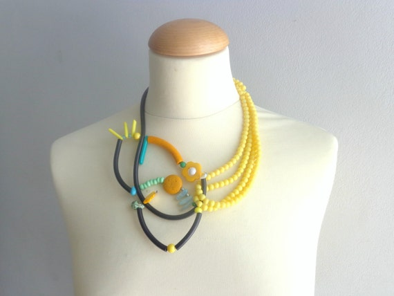 Black yellow green rubber statement necklace by stavroula on etsy