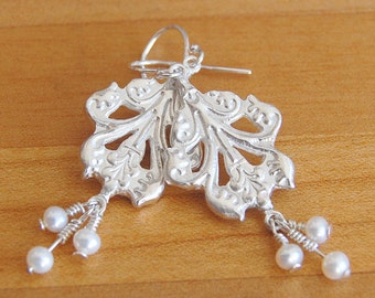 Silver Pearl Earrings in Acanthus Leaf Style