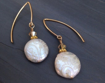 Bridal Embossed White Coin Pearl Earrings w Gold And Swarovski Crystal