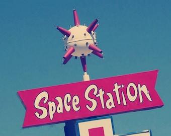 Space Station Gas sputnik sign