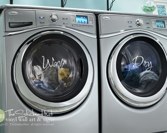 Wash Dry - Fancy - Vinyl Lettering - Washer Dryer Decor - Labels -  Laundry Room Decor Wall Art Words Text Door Sticker Decal 1772