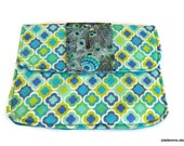Hand Held Fabric Clutch Purse Proudly Peacock Style Padded Tablet Cover