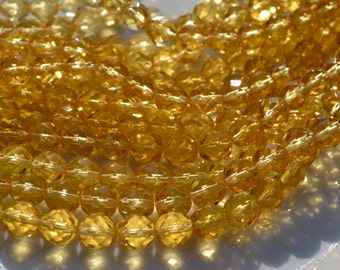 Honey Topaz 8mm Round FIre Polish Czech GLass Beads  25