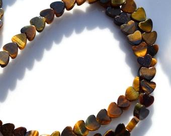 Teeny TIger's Eye 4mm Heart Beads   15