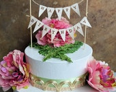 "Happy Birthday cake topper banner ...Rustic look ""Happy Birthday"" pennant banner for your next birthday celebration"