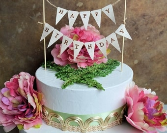garland cake topper etsy on cake happy birthday banner