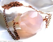 Pink Reef Necklace, Pink Chalcedony, Copper Chain