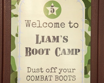 Welcome Door Sign Banner Military Army Party Soldier