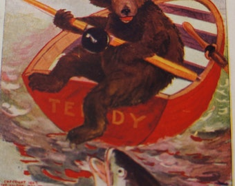 Cuddly Bear Fishing for Dinner Postcard
