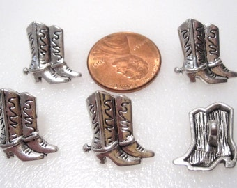 Bulk Lot 40 Cowboy, Cowgirl, Boot Buttons, Antique Silver buttons, 11x11mm C0362