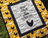"""Keep Calm and Love Chickens Quilted Wall Hanging 17"""" x 19"""""""