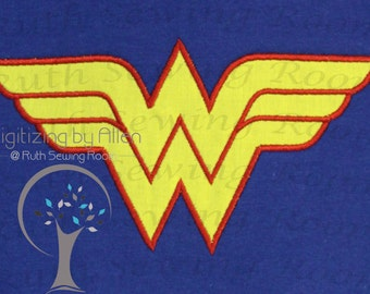 Wonder woman logo Applique Embroidery Design This is not Fill and NOT A PATCH