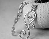Silver Dangle Earrings - Swirl Earrings - Sterling Silver SpiralJewelry - Wave Earrings - Unique Spiral Jewelry Swirl