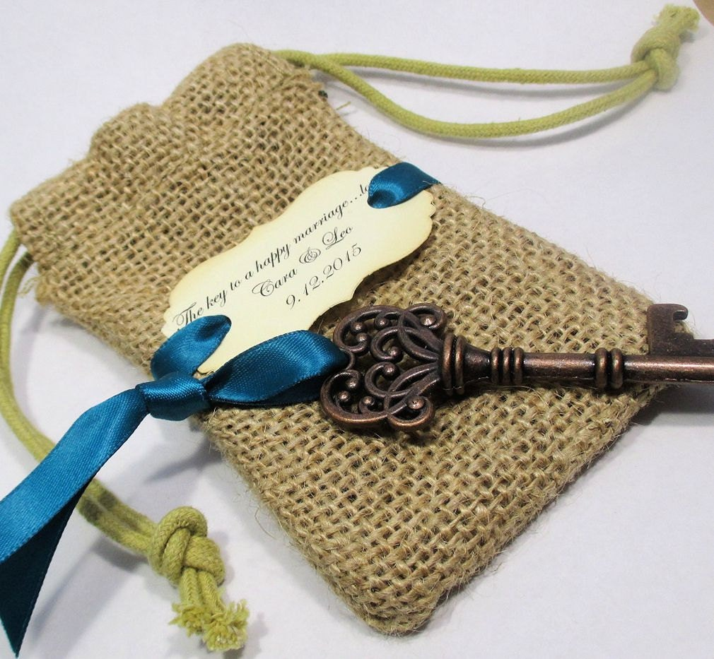 key bottle opener wedding favor burlap bag skeleton key