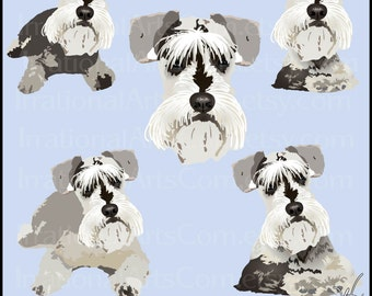 Schnauzers - 15 full color dog graphics gorgeous of 12 poses and 3 faces {Instant Download}