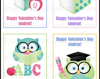 Teacher or Librarian set 1 Valentines Day Cards - for kids class exchange DIY Printing Owl books book worm apple Jpg & Pdf[Instant Download]