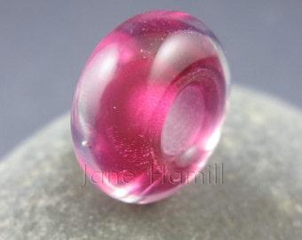 "Lampwork art glass BHB, charm bead, donut ""Rosy Glow"", FHFteam Y3, GBUK"
