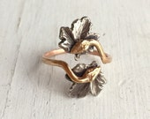 14Kt Rose Gold Snake Ring, Ouroboros Double Headed Snake Ring - Victorian Engagement