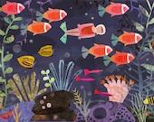 "Fish Girl -  11""x14"" Archival Print - art poster - wall decor - children's wall art - nursery poster"