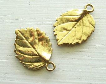 Anti-Tarnish Brass Leaf Charm 20x14mm 2pk