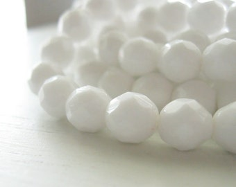 25 Opaque White Faceted Rounds 8mm - Czech Glass Beads