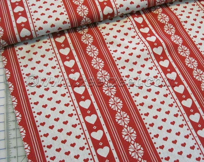 "ALPINE STRIPE NATURAL Flax Red 100% Linen Fabric by the Yard 60"" (1.5 meters) Wide Nordic Scandinavian Heart Christmas"