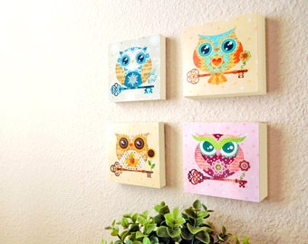 Paper Owls Wood Panels Collection - Set of 4 - Nursery Wall Decor, Art Prints Set