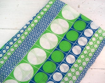 7 Yards Vintage Mod Polka Dot Lightweight Fabric in Bright Blue, Green and White