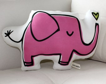 Elephant Pillow - more colors - blue, pink, purple - plush - baby gift - home goods - american made - valentine - valentine's day gift