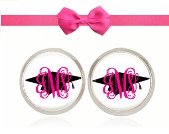 Monogram Earrings, Graduation Gift, Senior Gift, Monogram Jewelry, Graduation Hat Cap, (Hot Pink on Graduation Cap - Stud Earrings)