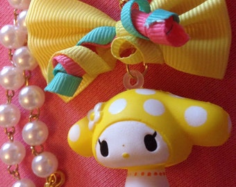 My Melody Pastel Yellow Bow Beaded Faux Pearl Necklace