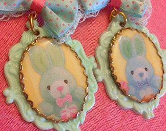 Pastel Bunny Cameo Bow Earrings
