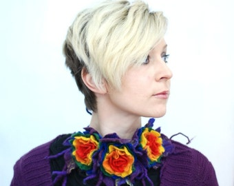 Rainbow necklace unique neckpiece with felted flowers/ pick your favorite color