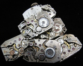 Vintage Antique Rectangle Watch Movements  Steampunk Altered Art Assemblage OM 104