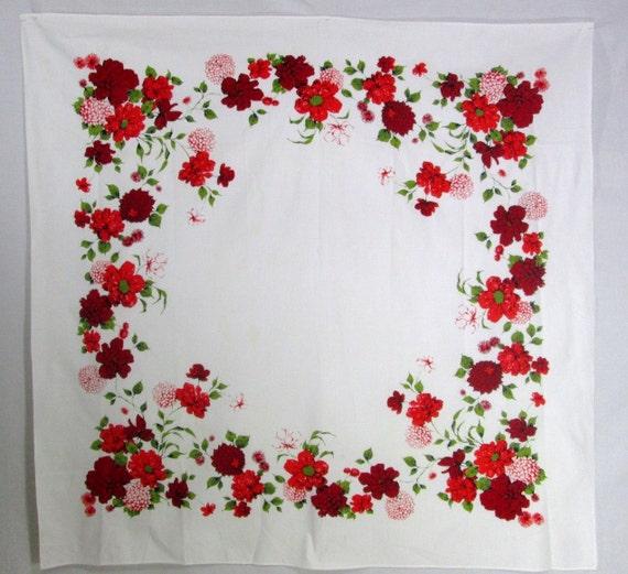 Vintage Tablecloth Wilendur Wilendure Red White Floral Flowers